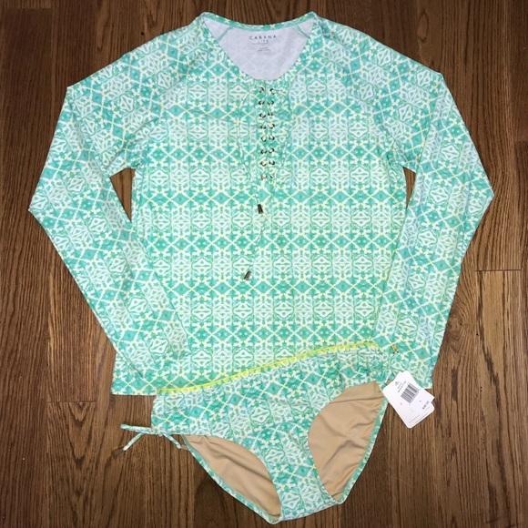 554e2c6aeb538 Cabana Life Rashguard Swimsuit Set Large